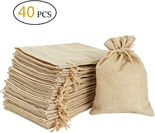 "Burlap Bags 5""x 4"" with Drawstring -Natural Linen Gift Bags Jewelry Sacks Strong Small Liner Pocket for Festivals, DIY Craft, Present, Parties Favors, Snacks, Jewelry and Anniversaries"