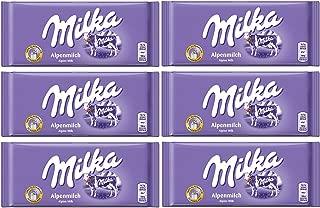 Milka Alpenmilch Alpine Milk Chocolate, 100g (Pack of 6)