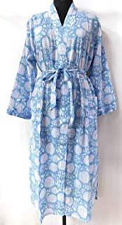 Handicraftofpinkcity Hand Block Print Kimono, Women Night Robe,Cotton Kimono, Intimate Sleepwear Body Crossover, Beach Dress,Bathrobe,Robe, Nightwear Kimono gown