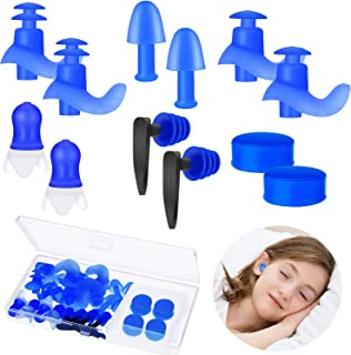 Tapones de Oídos de Silicona Reutilizables para Dormir Tapones de Oídos de Natación Impermeable Tapones de Oídos Reducción de Ruido para Concierto, Estudio, Ruidos Fuertes, Ronquidos(12 Pares)