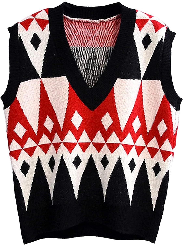 Women's Short V Neck Knitted Argyle Sleeveless Contrast Color Sweater Vest