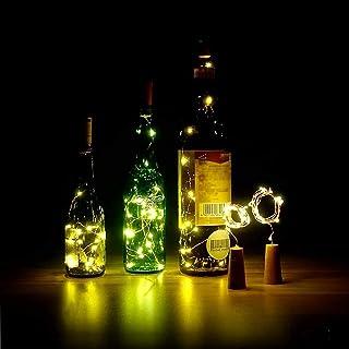ZJDM Paquete de 6 Luces de Corcho para Botella - 20 LED 100 cm Luces de Botella de Corcho Blanco cálido Cadena de Luces de...