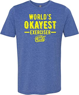 Tango Charlie Apparel - Men's World's Okayest Exerciser Crossfit T-Shirt – Funny Graphic Workout Tee for Men, Blue