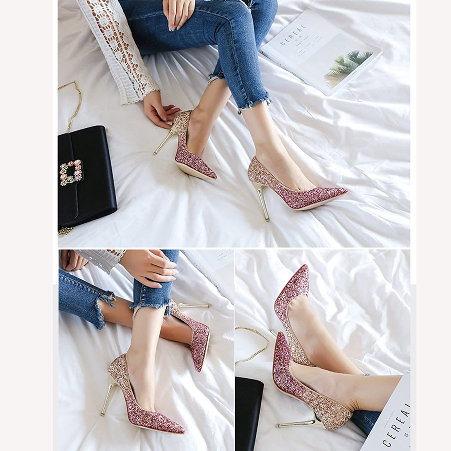 Female Summer tip high Heels high shoes Crystal Wedding shoes Bridesmaid Bride shoes Work shoes Shopping shoes (color   Pink, Size   35)