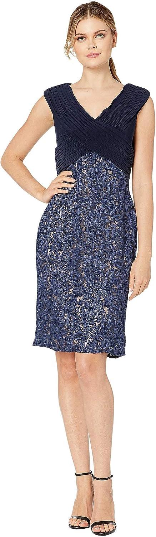 Alex Evenings Women's Max 73% OFF Short Shift Knee Raleigh Mall Peti V Length Neck Dress