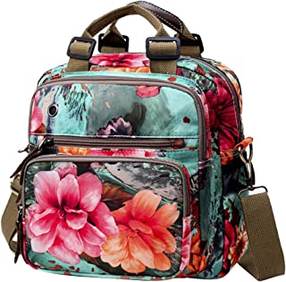 Exttlliy Mini Fashion Mummy Baby Diaper Bag Backpack,Floral Colorful Multi-Function Travel Bag Pack Nappy Bag Crossbody Bag (Green)