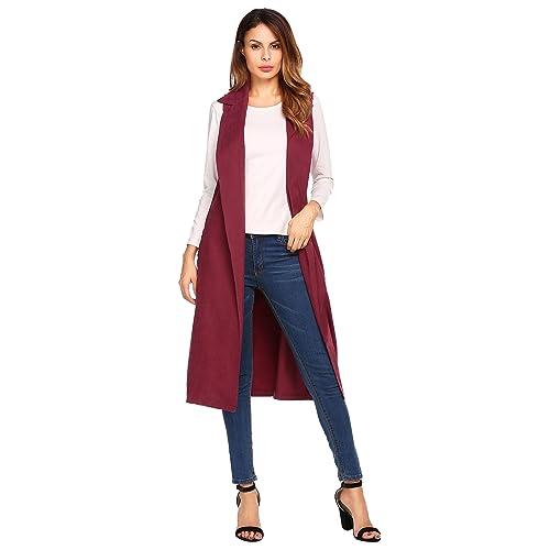 43a5de84d80abb EASTHER Women Casual Sleeveless Solid Open Front Long Vest Belt