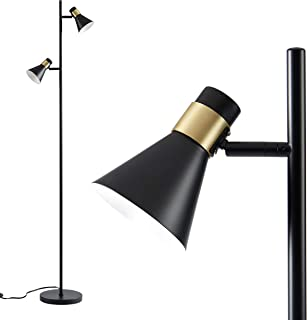 Ambiore Floor Lamp Dual with Complimentary Bulb Lampio - Mid-Century Elegant Indoor Standing Light for Living Room and Bedroom - Pole Tree lamp with Matt Black Shade with Brass Ring - Black