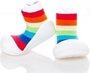 Attipas Rainbow Baby Walker Shoes, White, Medium