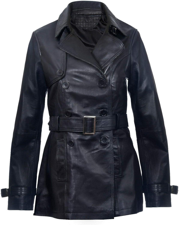 Ladies Leather Trench Coat Black Mid Length Coat Classic Jacket