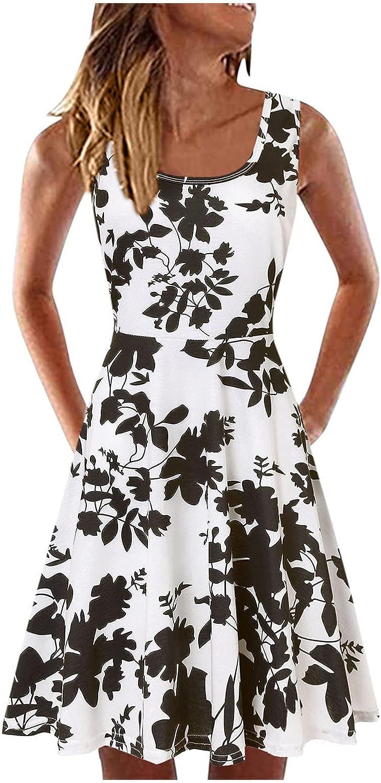Gerichy Summer Dresses for Women, Womens Womens Summer Boho Floral Wrap V Neck Adjustable Spaghetti Casual Ruffle Dress