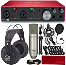 Focusrite Scarlett 8i6 8-in 6-Out USB Audio Interface + Tascam Studio Condenser Microphone, SR850 Stereo Headphones, Xpix Pop Screen Filter, Cables, and Platinum Accessories