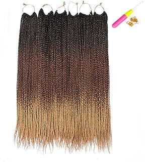 Spring Beauty Hair 24 inch 6 Packs/Lot Box Braids Crochet Hair 1B/Dark Brown/Honey Blonde Crochet Box Braids 24 Strands/Pack Ombre Senegalese Crochet Hair Braiding 1B/4/27 Crochet Box Braids