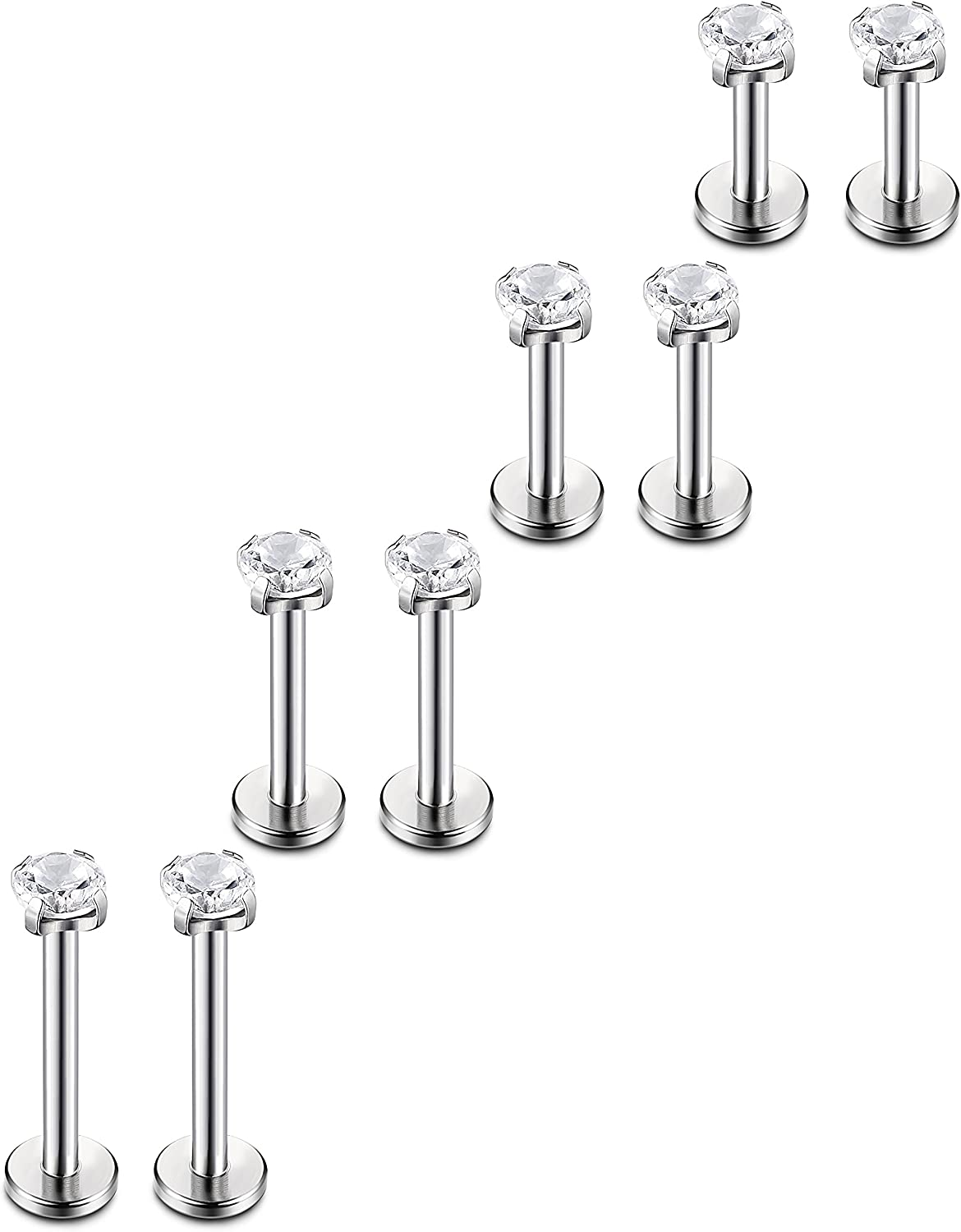 Beauty products ORAZIO 4-8 Pcs 18G Stainless Steel Nose Rings Bombing new work Lip Piercing Studs