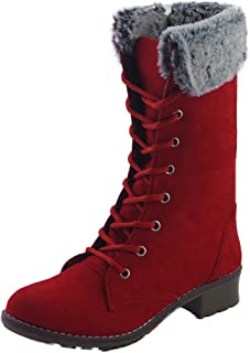 CatBird Women's & Girl's Zipper and Lace-up Calf High Winter Boots   Fashion Casual Booties   Anti-Slip Long Boots Winter ...