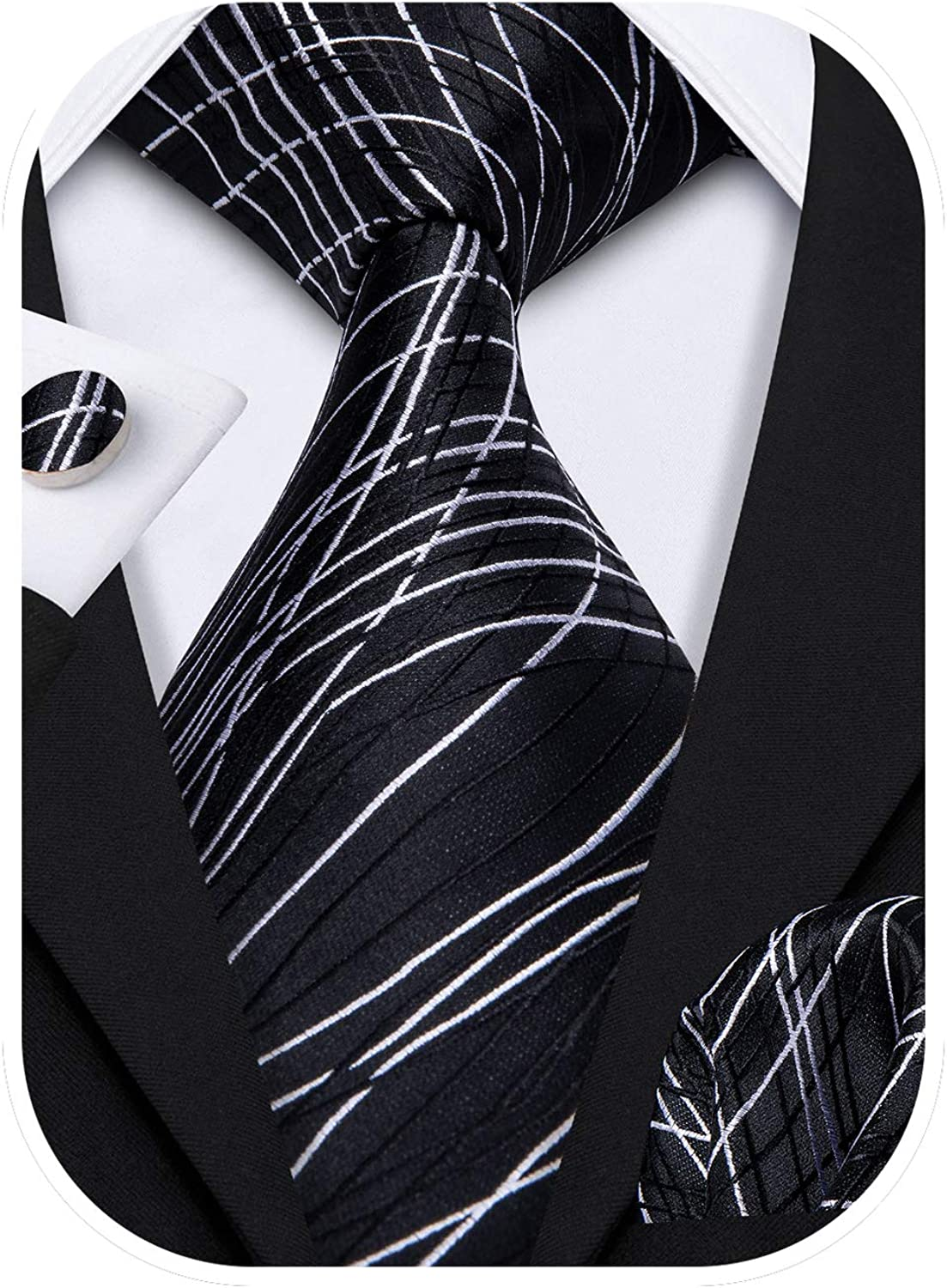 Barry.Wang Stripe Fort Worth Mall Men Ties Set Classic Be super welcome WOVEN Necktie with Handke