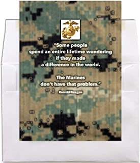 Reagan Quote on Digi - US Marine Corps Military Greeting Card - Includes Envelope - 5