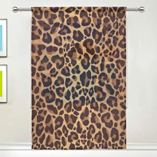 AUUXVA Window Sheer Curtain Animal Leopard Print Panels Drape Kitchen Living Room Decor Bedroom Office Voile Curtain 1 Pie...