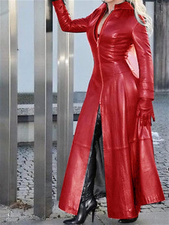 XiuLi Women PVC Trench Coat Elegant Slim fit Style Women s Trench Coat Faux Leather Faux Leather Jacket Women Long (Color : Red, Size : 5X-Large)
