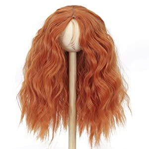 Miss U Hair 8-9 Inch 1/3 BJD Doll Wig MSD DOD Pullip Dollfie Long Kinky Curly Hair Not for Human (Center Part Orange)