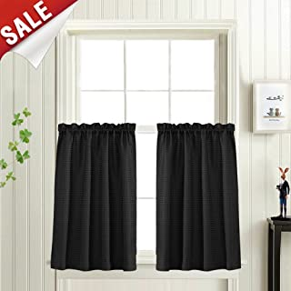 Short Curtains Waffle Woven Textured for Kitchen Water Repellent Window Covering for Bathroom 72 Inch x 24 Inch Black Two Panels
