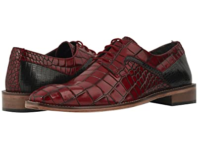 Stacy Adams Triolo Croc Lizard Print Oxford (Red/Black) Men