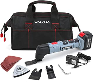 WORKPRO Oscillating Multi-Tool 20V Lithium-Ion Cordless with LED Variable Speed Universal Fit, Blades and Accessories 19-Piece Kit