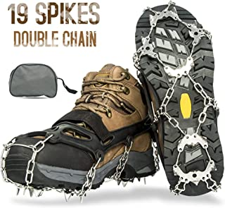 Ice Fishing, Crampons, Ice Cleats for Men Women Ice Snow Grips Shoe Cleats with 19 Spikes Traction Cleats for Walking and Hiking on Ice and Snow