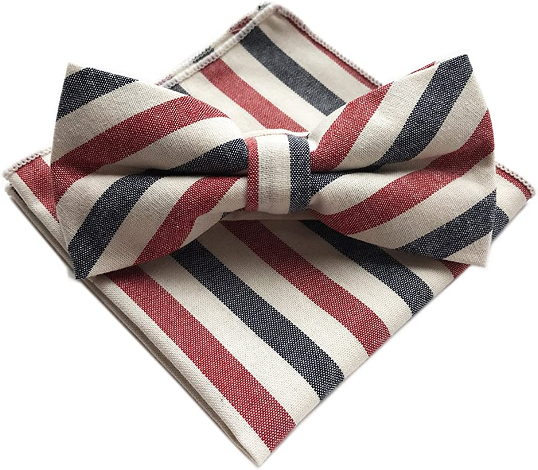 Elfeves Men's Cotton Bow Ties Pocket Square Set Pre-Tied Striped Printed Necktie