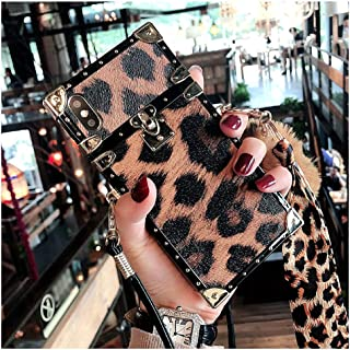 Fusicase for iPhone X/XS Leopard Case with Crossbody Neck Strap Lanyard Handbag Wrist Strap Protective Cover Luxury Fashion Cute for Girls Women Plush Furry Fuzzy Ball Square Case for iPhone X/XS