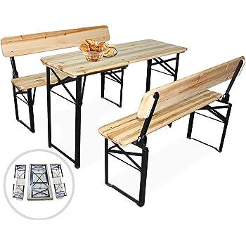 MIADOMODO Conjunto de Mesa y Bancos Plegables - Set de 1 Mesa y 2 ...