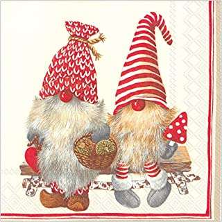 Boston International Holiday Paper Luncheon Napkins, 20-Count, Friendly Tomte - Red