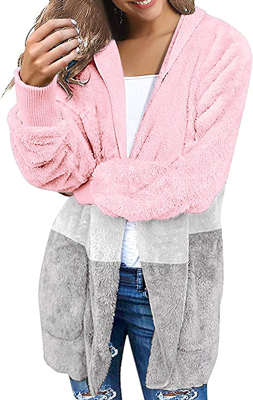 Women's Fleece Hoodie Cardigan Sweater Casual Fashion Color Block Open Front Soft Plush Sherpa Hooded Pockets Coat