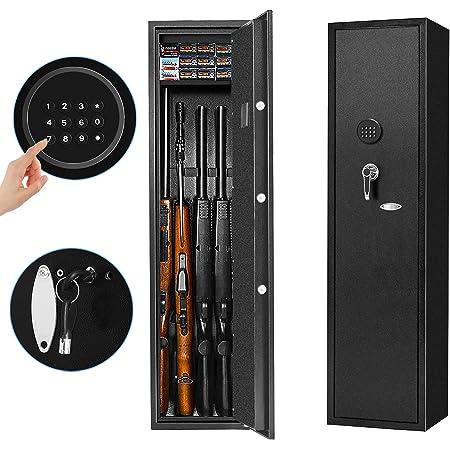 INVIE Large Rifle Safe, Long Gun Safe Rifle Shotgun Locker for Home, Quick Access 4-Gun Electronic Storage Cabinet with Handgun Pistol Lockbox Slient Mode (Keyboard PIN Code)
