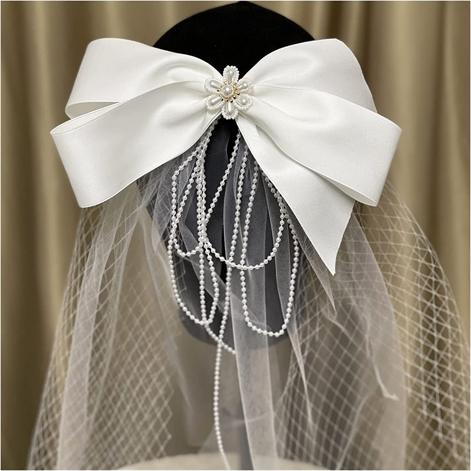 xunyang Ranking TOP8 Mori Style Retro Artistic Bow Veil Short He Flower Direct sale of manufacturer Pearl