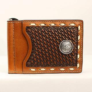 محفظة Nocona Belt Co. للرجال من Nocona Basket Stamp Buckstitch داخلية ومشبك للمال ، باللون البني، مقاس واحد