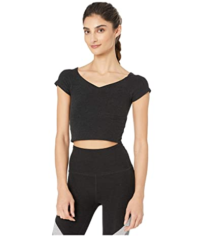 Beyond Yoga Spacedye Day One Short Sleeve Cropped Top (Darkest Night) Women