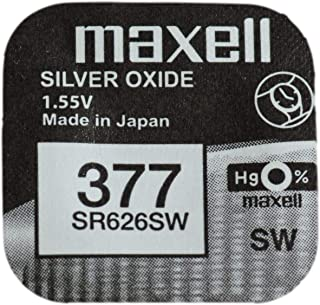 One (1) X Maxell 377 SR626SW SB-AW Silver Oxide Watch Battery 1.55v Blister Packed