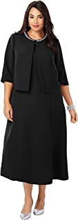 Jessica London Women's Plus Size Beaded Jacket Dress