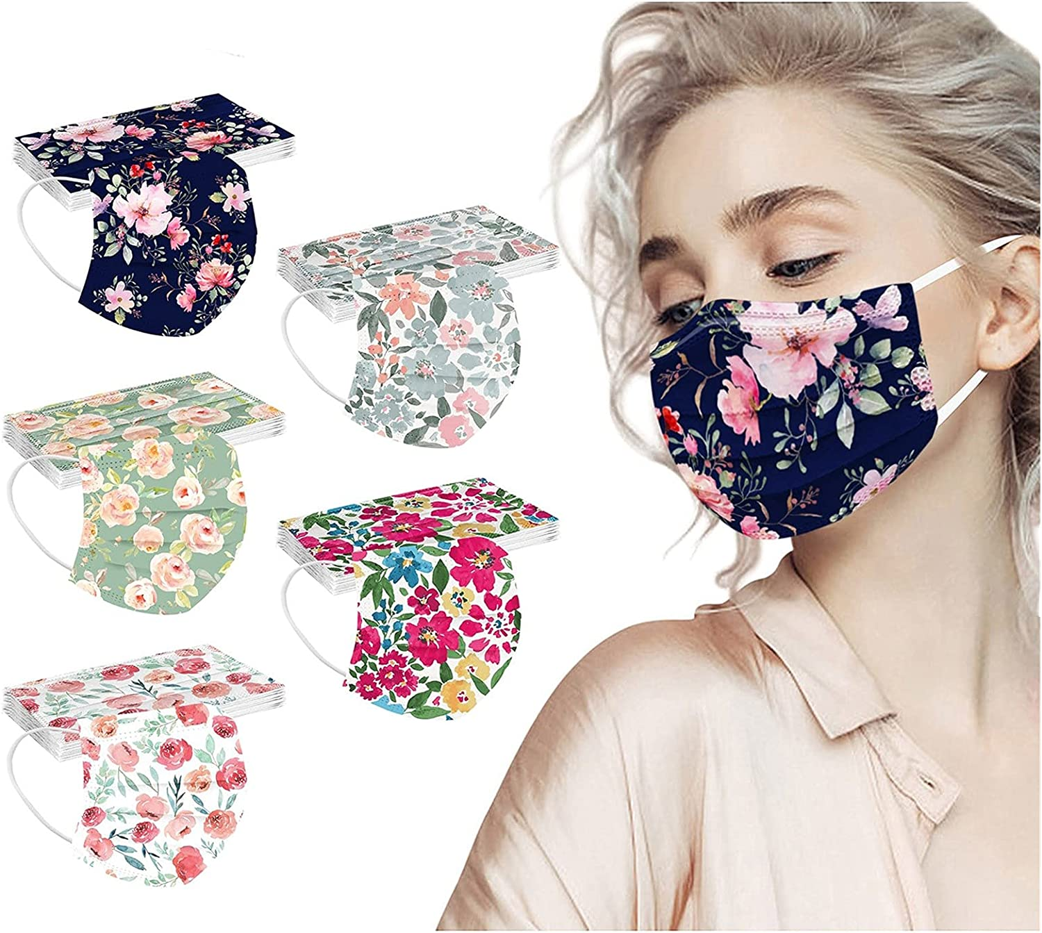 50 Pcs Adult Flower Be super welcome Face Masks F Facemask Face_mask Max 74% OFF - Disposable