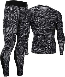 Mens Sports Running Set Compression Shirt + Pants Tracksuit Gym Yoga Suits