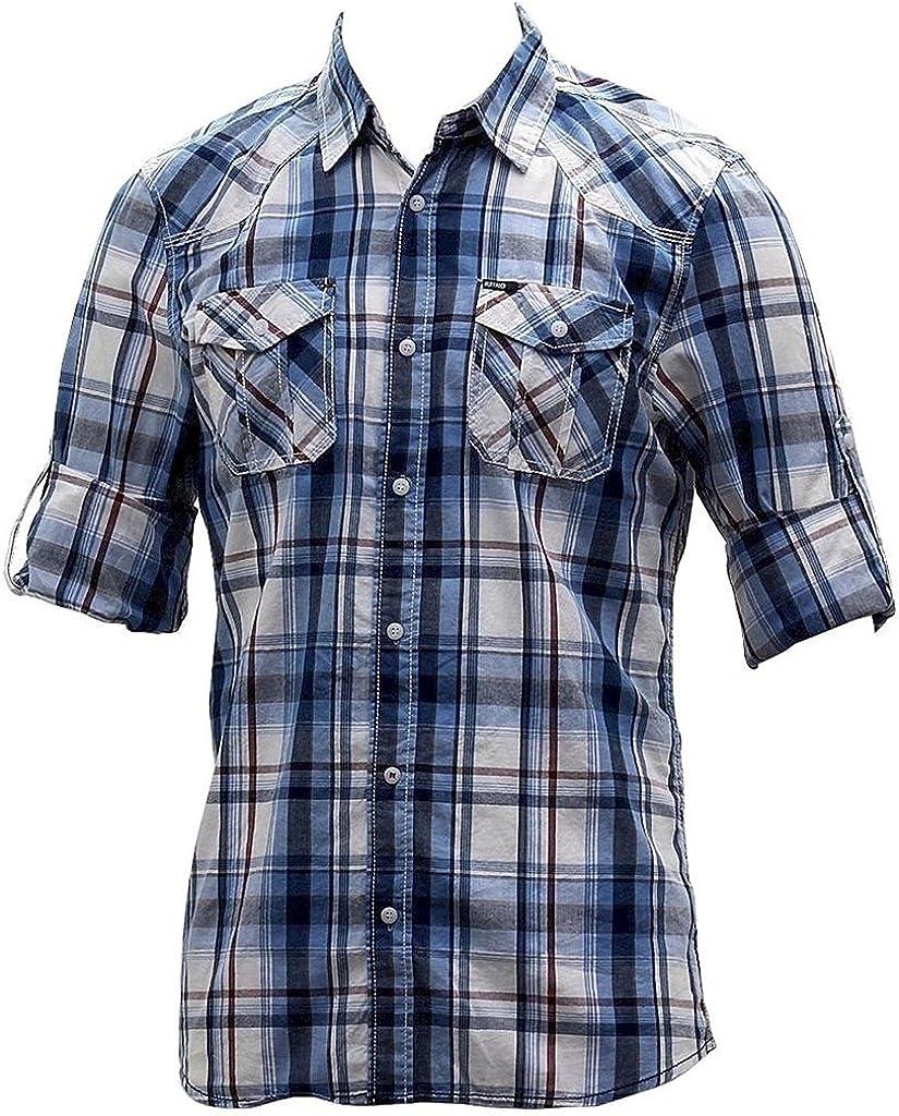 Buffalo Blue Men's Sampson Cotton Long Sleeve Button Down Marine Plaid Shirt