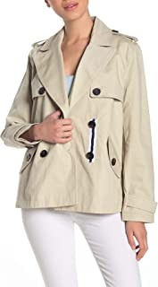 BCBGeneration Missy Short Double Breasted Trench Coat, Large Sand