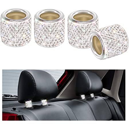 Auto Kopfstützen Halsbänder Yinuo 4 Stück Kristall Universal Chrom Auto Innendekoration Bling Auto Zubehör Für Frauen Silber Auto