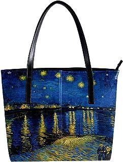 LORVIES Van Gogh - Borsa a tracolla da donna in pelle PU con borsa a mano