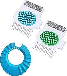 3pcs Cradle Cap Brush and Comb Set, Includes 2 Pieces 3-in-1 Cradle Cap Brush Baby Scalp Brush with Soft Rubber Bristles B...