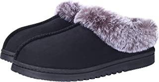 UBXRIN Womens Fuzzy Memory Foam Slippers Boots Cozy Faux Fur House Shoes Indoor Outdoor Rubber Sole Anti-Skid