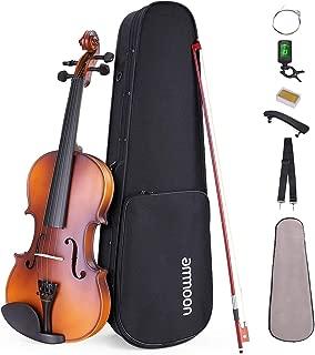 ammoon 4/4 Violín Principiantes, con Estuche Soporte de Hombro Sintonizador Afinado Cuerdas, etc