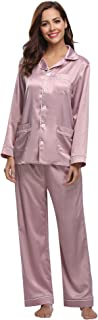Aibrou Pijamas Mujer Invierno Pijamas Seda con 5 Bolsillos Saten, Suave, Cómodo, Sedoso y Agradable