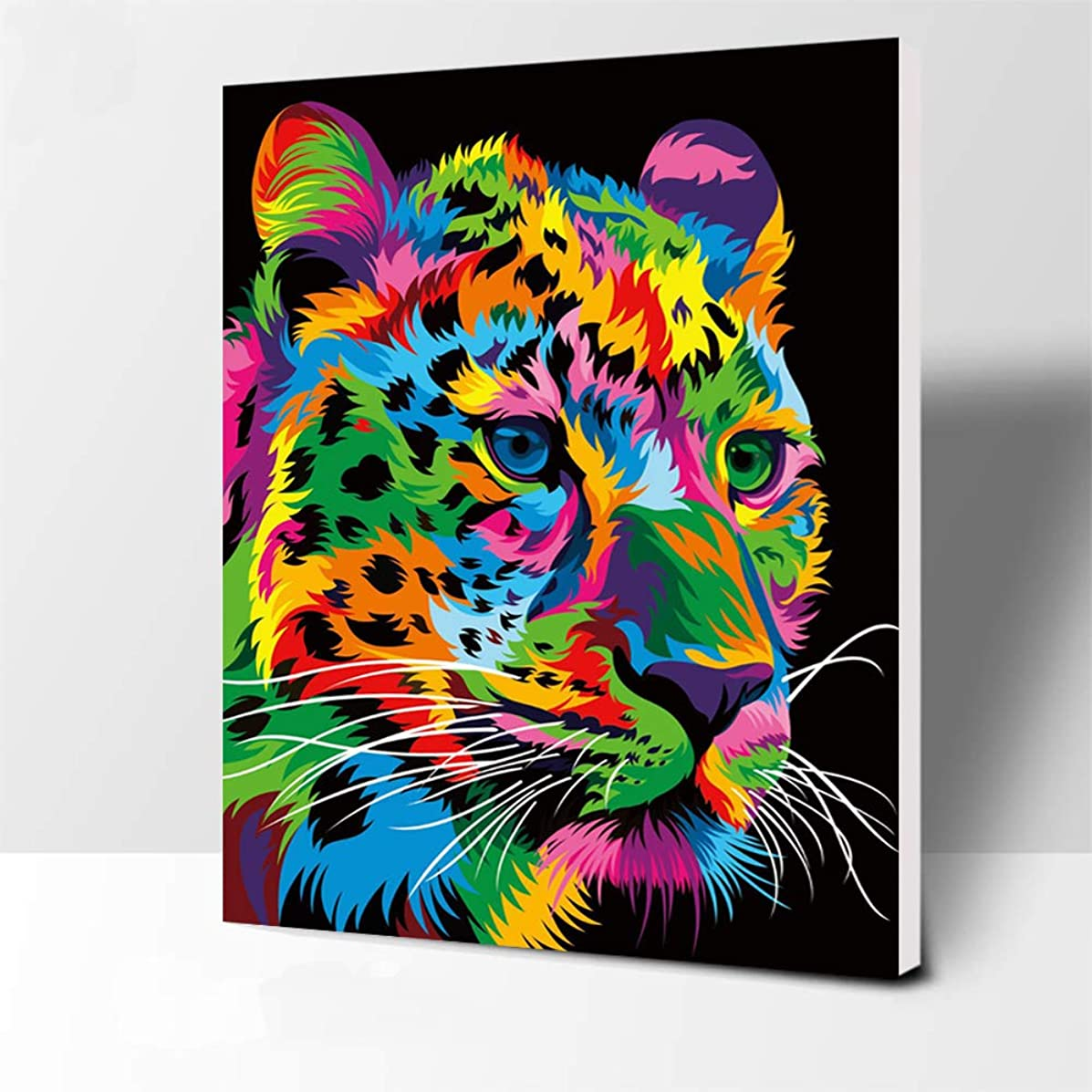 iFymei DIY Oil Painting Kit , Paint by Numbers for Adults & Kids & Beginner , 16 x 20 inch Canvas & Acrylic Paints - Colorful Leopard ( Wooden Framed )